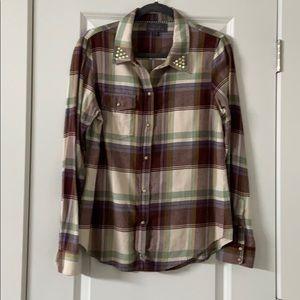 PJK Rinestone flannel button down